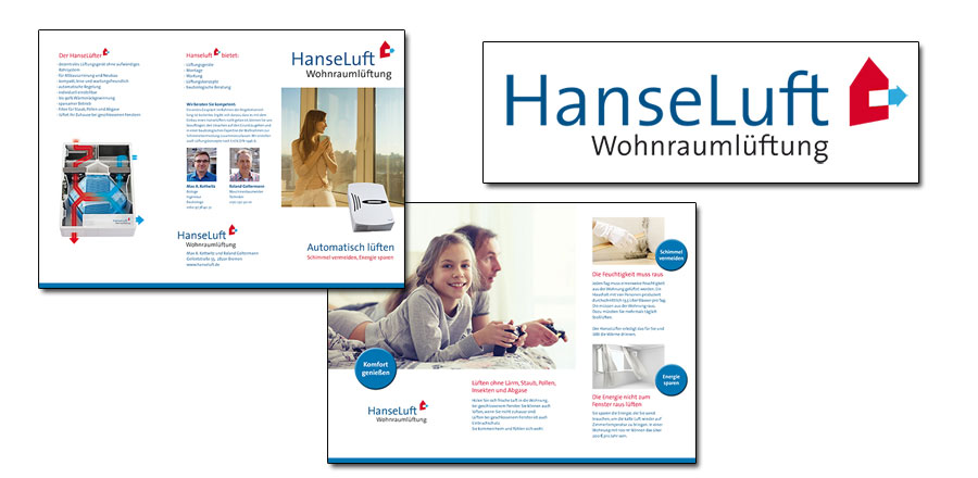 Flyer für Hanseluft Wohnraumbelüftungskonzepte
