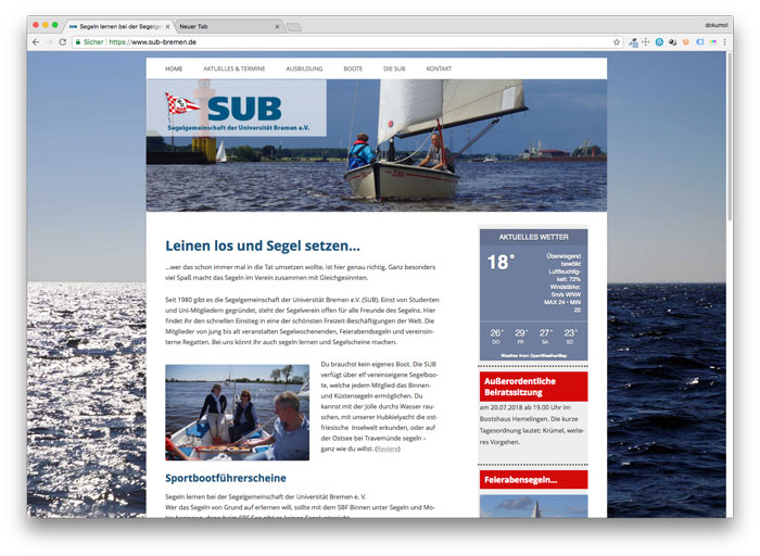 Homepage der SUB-Bremen e.V.