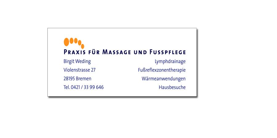 Visitenkarte Birgit Weding Massage/Fußpflege