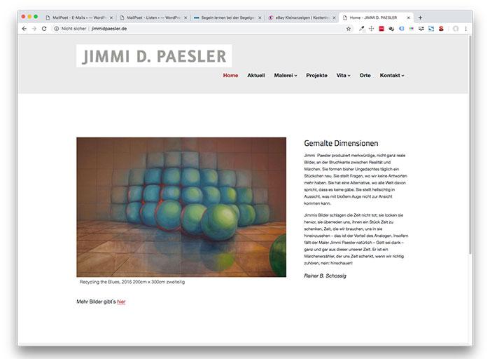 Website des Bremer Malers Jimmi D Paesler